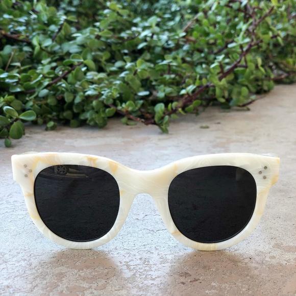 fcf9a03e8e Celine Accessories - Celine White Marble Round Sunnies Sunglasses